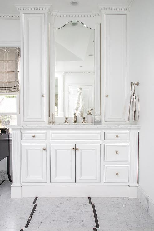 Arch Inset Vanity Mirror Transitional Bathroom