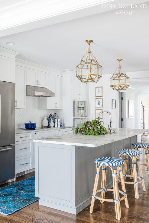 Gray Island With Gold Lanterns Transitional Kitchen