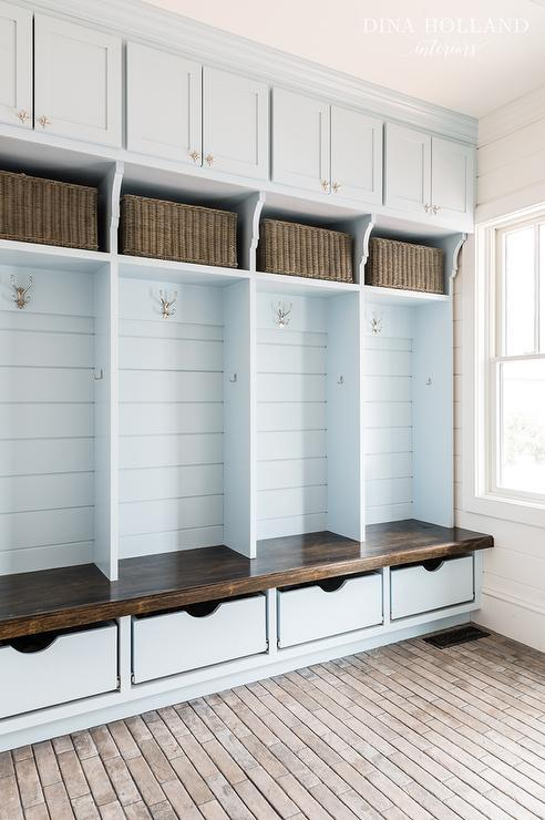 Mudroom Storage Cabinets : Sky blue mudroom lockers with overhead cabinets