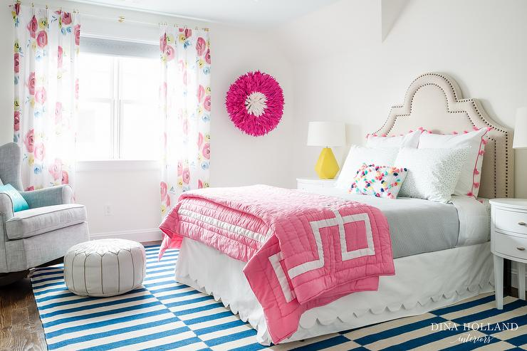 Pink Greek Key Quilt With White Scalloped Bed Skirt Transitional