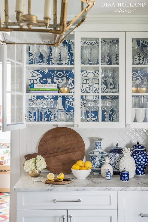 Blue Wallpaper on Back of Glass KItchen Cabinets - Transitional ...