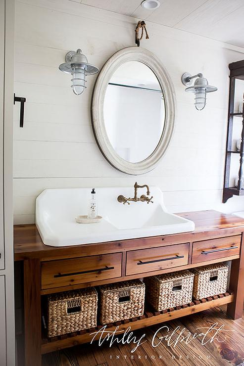 Kids Bathroom With Console Table Turned Sink Vanity