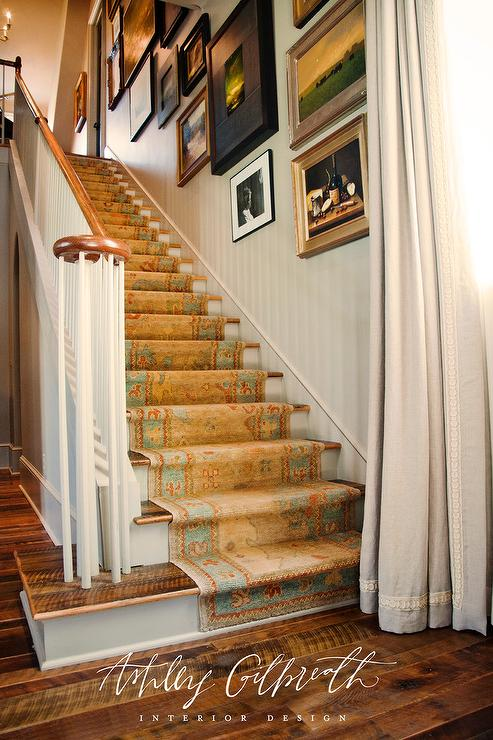 Blue And Gold Wool Stair Runner