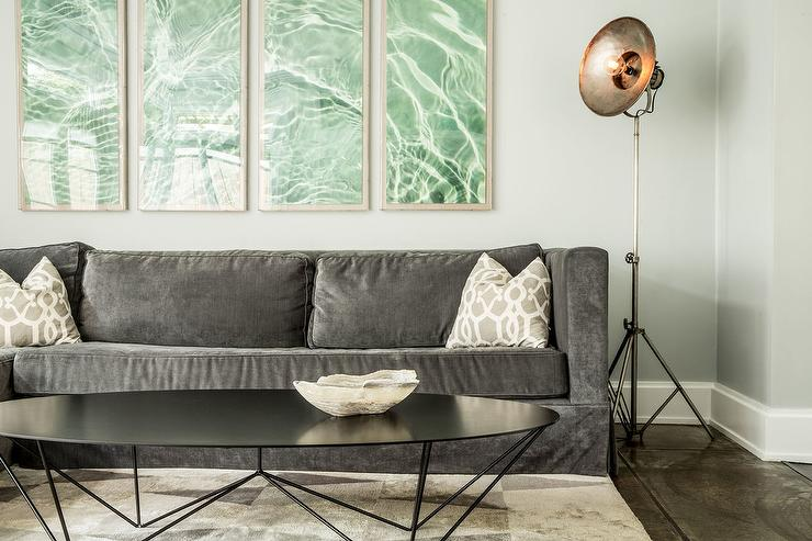 Surprising Charcoal Gray Velvet Sofa With Black Oval Coffee Table Squirreltailoven Fun Painted Chair Ideas Images Squirreltailovenorg