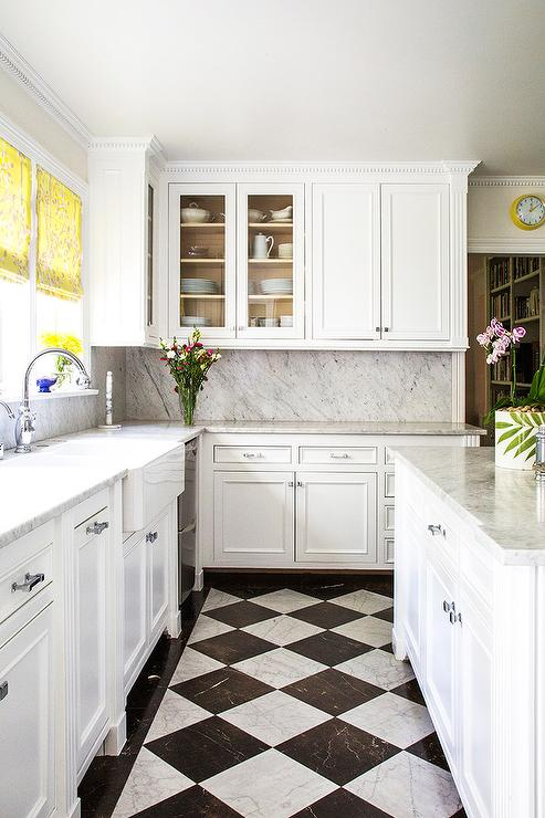White and Black Harlequin Kitchen Floors - Transitional - Kitchen