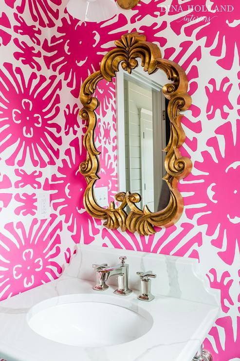 Pink bathroom with gold mirror contemporary bathroom for Pink and gold bathroom accessories