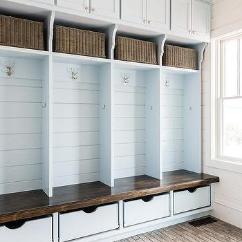 Blue Shiplap On Back Of Mudroom Lockers Design Ideas