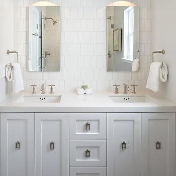 Genial White Dual Washstand With Dark Gray Hexagon Floor Tiles