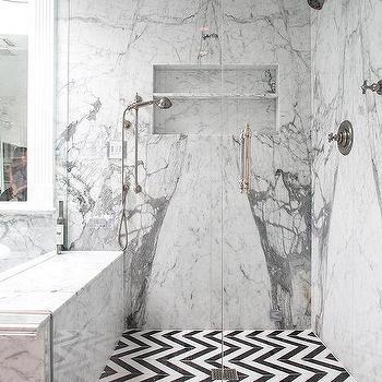 White And Black Chevron Shower Floor Tiles