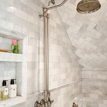 Marble Walk In Shower With Towel Bar