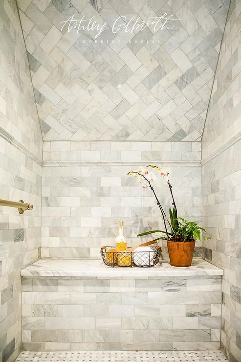Marble Herringbone Tiled Sloped Shower Ceiling