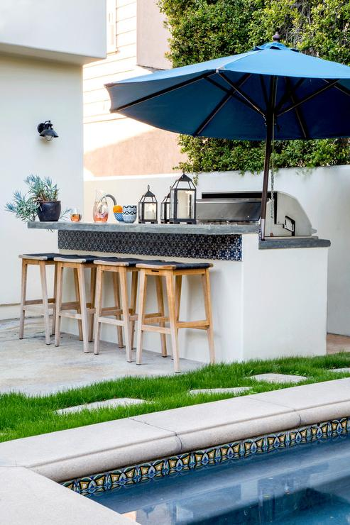 Outdoor Kitchen And Bar With Blue Spanish Tiles Transitional Deck Patio