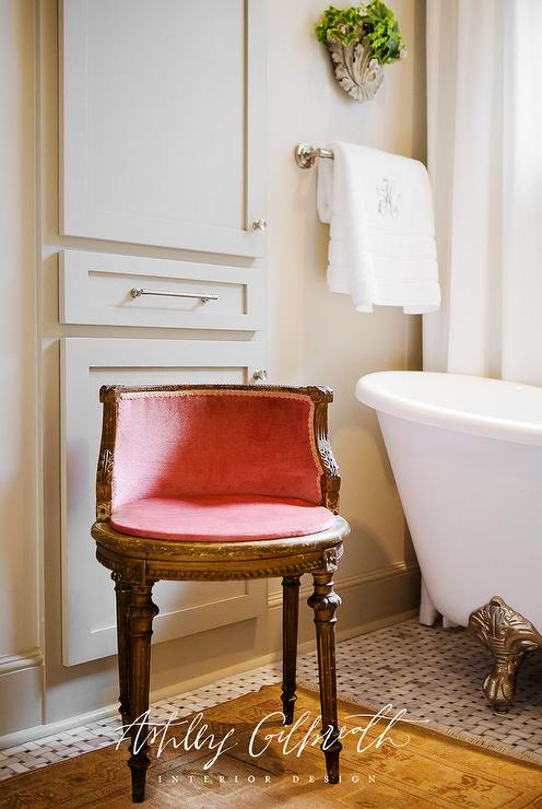 Pink French Bathroom Chair - French - Bathroom