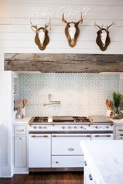 Antlers On Kitchen Hood Cottage Kitchen