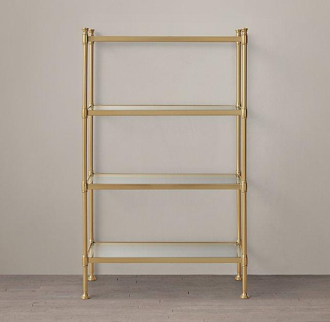 Dwellstudio Antique Brass Mirrored Shelves Mansfield Etagere