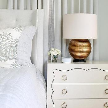 White Master Bedroom With Gold Lamps Transitional Bedroom