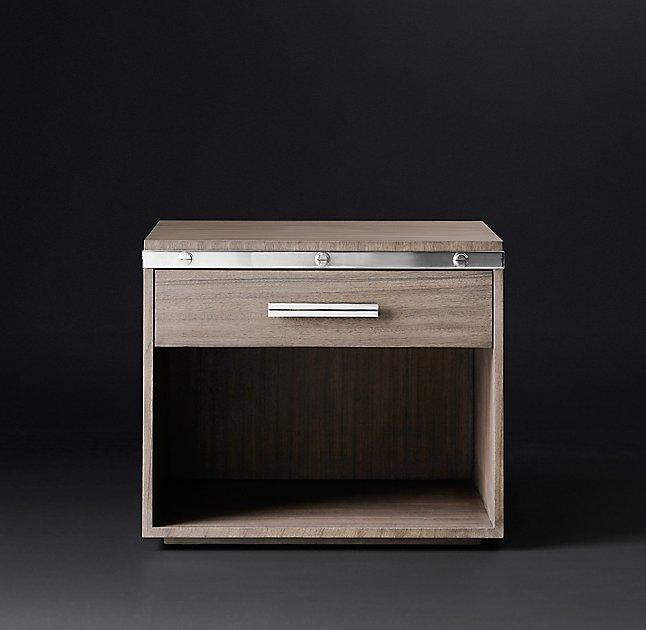 rivet open silver metal nightstand