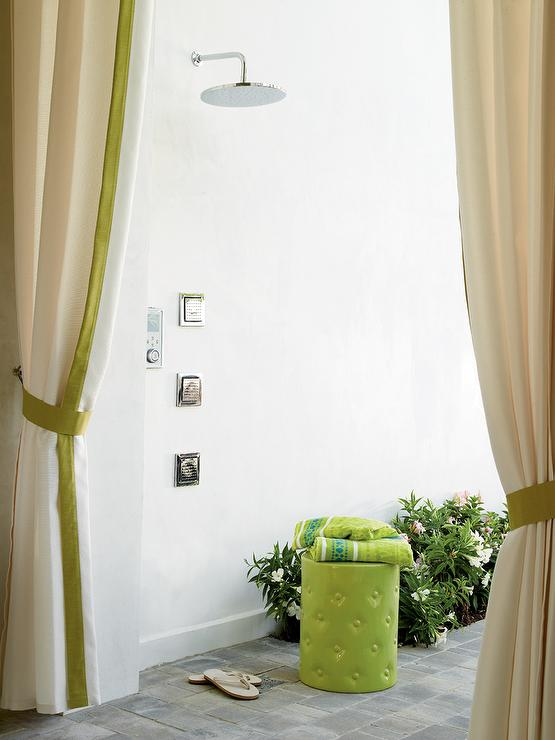 White Outdoor Curtains Accented With Green Trim Open To Reveal An Outdoor  Shower Boasting A Wall Mount Rain Shower Head And Multiple Vertical Shower  Sprays ...