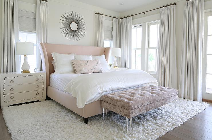 Gray Bedroom With Pink Accents Transitional Bedroom