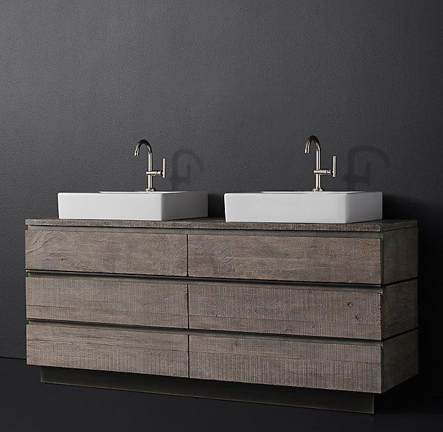 Monterey Double Vessel Wood Top Vanity - Double Vessel Wood Top Vanity