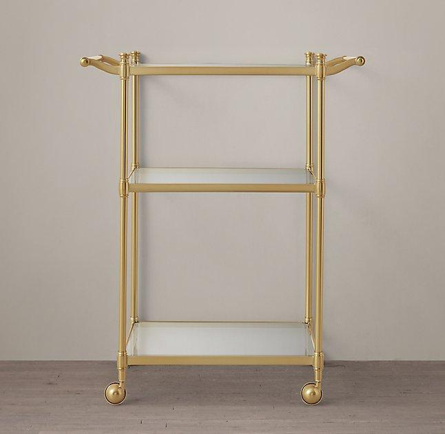 newbury aged brass rolling bath cart - Bathroom Cart