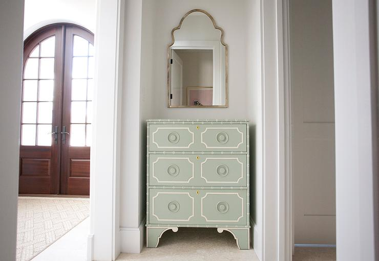 Arched Foyer Mirror : Green chest of drawers with silver arch mirror cottage