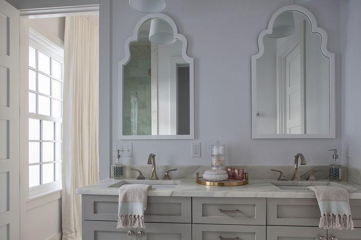 Miraculous White Arch Mirror With Gray Washstand Cottage Bathroom Download Free Architecture Designs Aeocymadebymaigaardcom