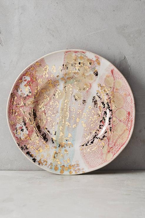 & Gold Accent Dessert Plate