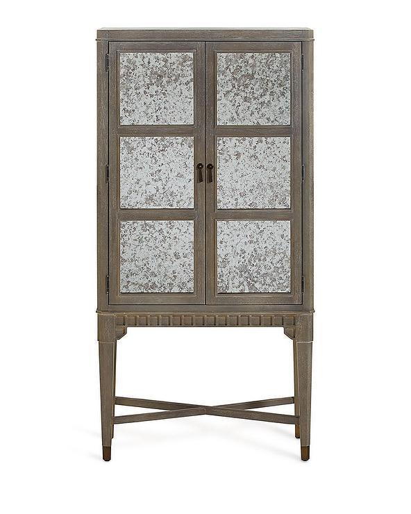 Vineyard Distressed Glass Door Bar Cabinet - Storage Furniture - Two Door Wood Antique Cabinet