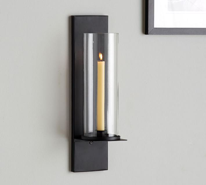 black glass bulb sconce