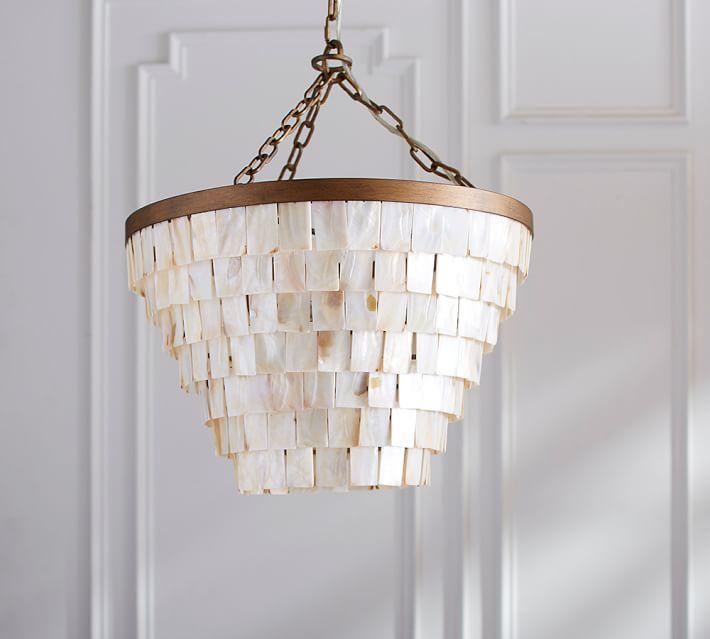 Maya tiered shell brass chandelier aloadofball Images