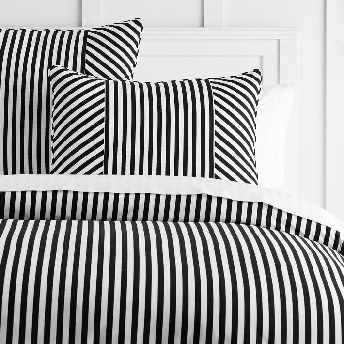 Emily Meritt Black White Stripe Duvet Sham