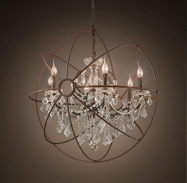 Attractive Foucaults Orb Clear Crystal Chandelier 32 inches GQ18