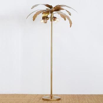 Ocean Palm Gold Metal Floor Lamp, Palm Floor Lamp Cb2