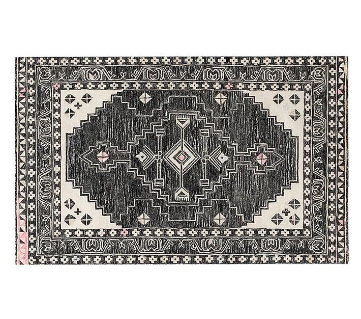 Sadie Aztec Black White Wool Rug