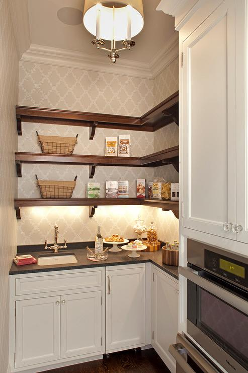 White Cabinets With Black Pantry Shelves Transitional