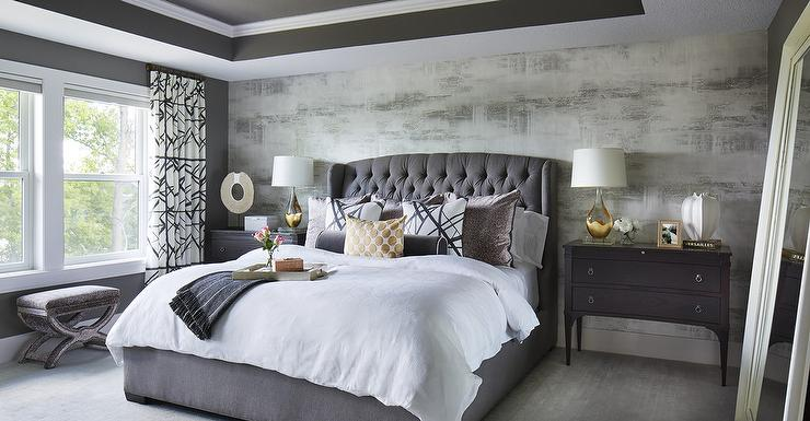 Gray Velvet Tufted Headboard With Black Nightstands