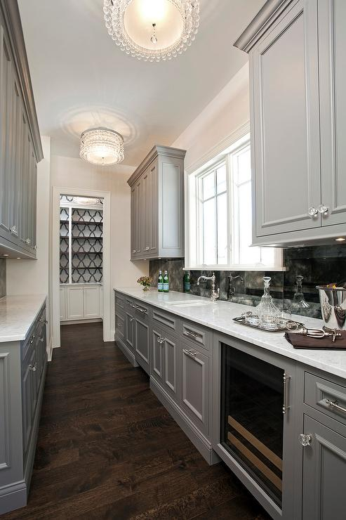 Gray Galley Style Butlers Pantry With Beaded Flush Mounts