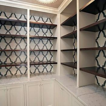 Black And White Wallpaper On Back Of Built In Bookcase