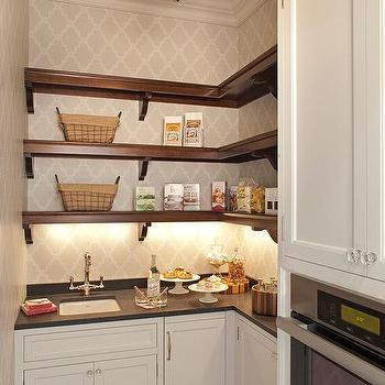 Stained Wooden Butler Pantry Shelves