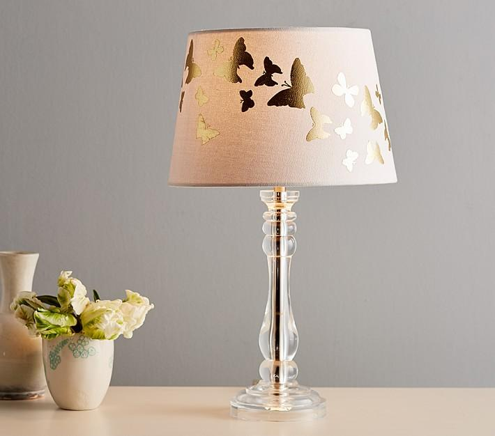 Metallic butterfly blush lamp shade aloadofball Gallery