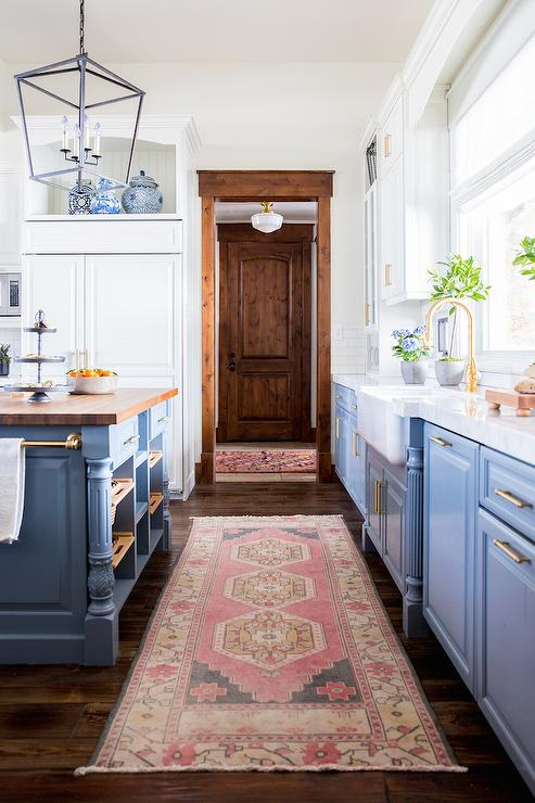 Blue Kitchen Cabinets With Pink Rug Transitional