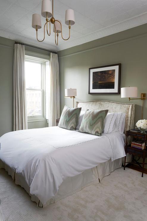 Elegant Green Bedroom Design Transitional Bedroom