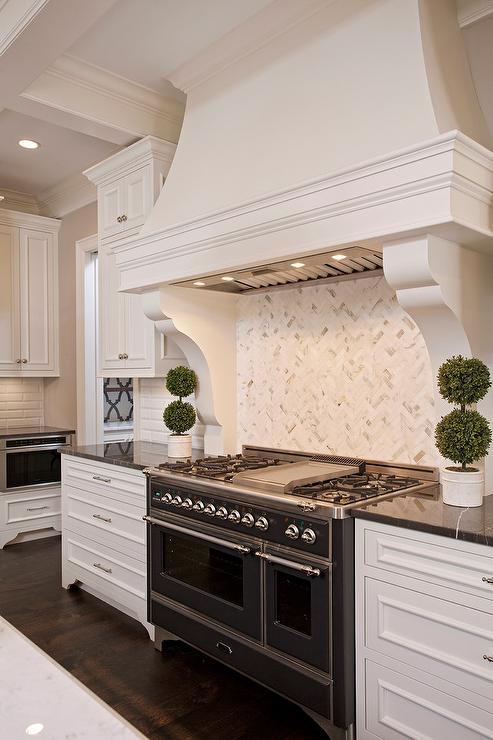 White Marble Herringbone Cooktop Backsplash Tiles