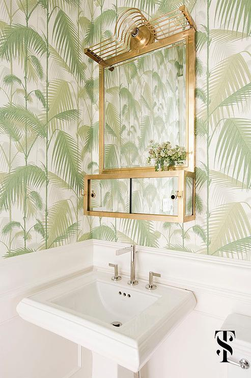 White Powder Room With Cole And Son Jungle Palm Wallpaper