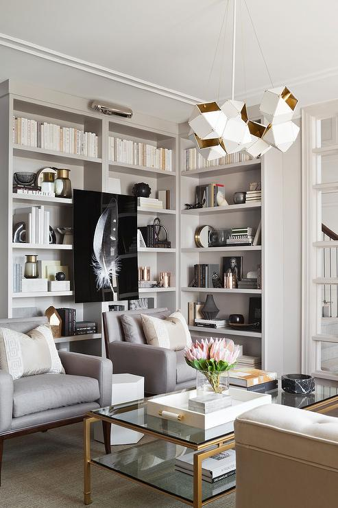 Gray Accent Chairs With Gold Coffee Table Contemporary Living Room