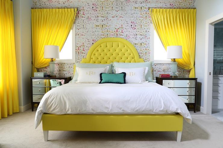 lemon yellow tufted headboard