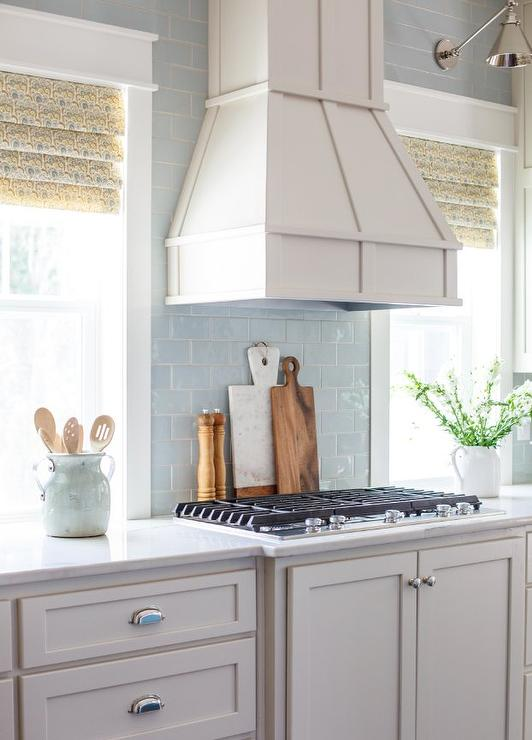 Light Blue Subway Tile Kitchen Backsplash Transitional Kitchen