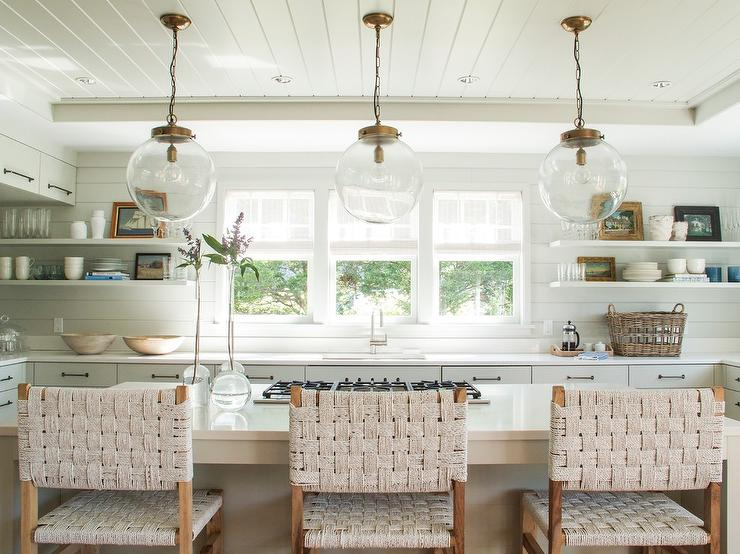 Beadboard Kitchen Ceiling With Glass And Brass Globe