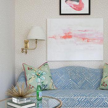 Charmant Blue Diamond Print Sofa